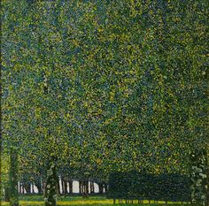The Park by Gustav Klimt. Ah, Klimt the shining artist of Vienna. His landscapes are so different than the portraits