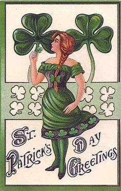 Sweetly charming Edwardian era St. Patrick's Day greeting card. #Edwardian #antique #Ireland #Irish #StPatricksDay #March #green #shamrock #vintage #card #postcard