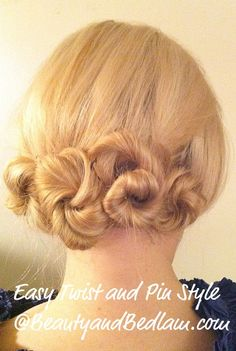 Twist & Pin:   Perfect style for long and short hair length. Get out of my pony tail rut.