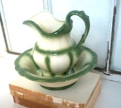 Moss Green Pitcher and Wash Bowl