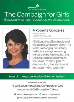 Roberta Gonzales: Weather Anchor, CBS 5 SF - and proud Girl Scout alumna! http://www.girlscoutsnorcal.org/campaignforgirls