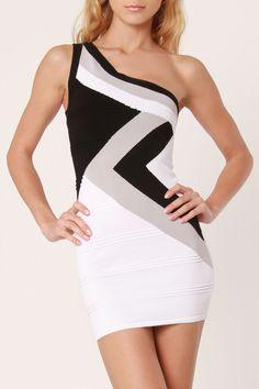 Black / Gray Bandage Dress