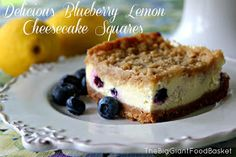 The Big Giant Food Basket: Delicious Blueberry and Lemon Cheesecake Squares