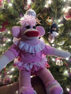 Cute Pink Lacey girl sock monkey