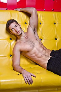 model, sexi, couch, leather sofas, guy, hot, magazin, yellow, men