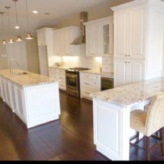 white cabinets, granite countertops