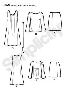 Patrons couture Simplicity 7588 - Lisette jupe/robe/blouse taille 42 à 50 : vente Patrons couture - Femme - Robes - Bouillon de couture