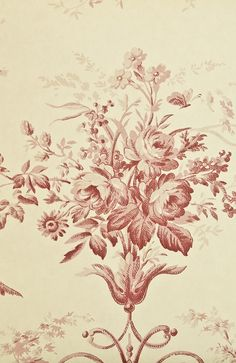 Toile d'Albert Wallpaper Traditional French floral wallpaper with architectural motifs in light cream and Red.