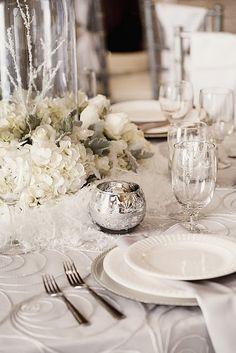 A winter white tablescape.