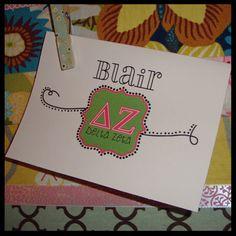 Delta Zeta Greek Sorority Personalized Note Cards