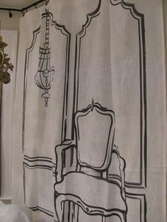 Hand Painted Silhouette Drapery Panel on White Linen. Great idea for a trade show booth, shower curtain or retail display.