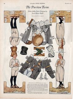 A wonderfully charming page of 1920s Thanksgiving Day pilgrim paper dolls. #paper_dolls #toys #1920s #vintage #Thanksgiving #pilgrims #twenties #holidays