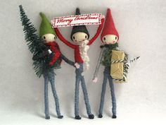 Cute little pipe cleaner elves. Email for details, sarah@sarahstrachan.com