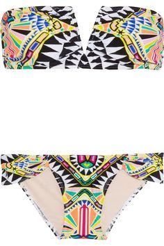 Mara Hoffman|Printed bandeau bikini|  http://rstyle.me/n/ibv3dbtd