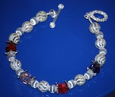 Beautiful silver birthstone bracelet with swarovski crystals, $22.95