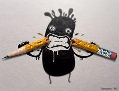 school, digital art, photo manipulation, funny stuff, funny wallpapers, man art, little monsters, photo art, pencils