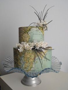 Vintage map cake! Gorgeous @Hannah Rabb map cake, bon voyage, vintage maps, cake decorations, world maps, wedding cakes, fondant cakes, globe, themed parties