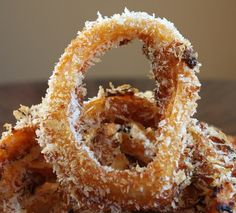 baked bbq onion rings made with sweet baby ray's bbq sauce and panko bread crumbs!