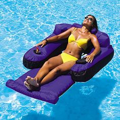Ultimate #Floating Pool Lounge  This pool #float is the ultimate in #comfort!