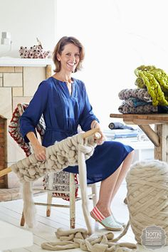 Jacqui Fink of Little Dandelion uses giant knitting needles and chunky wools to craft exquisite one-of-a-kind creations.