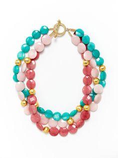3-Strand Cherry, Teal, & Light Pink Quartz Necklace by KEP on Gilt.com