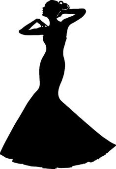 Wedding Dress Shadow Clip Art | Clip Art Illustration of a Spring Bride in a Strapless Gown