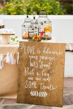 Hand-painted dessert table signage with birdcages #vintage #vintagewedding #weddingdecor #diywedding #desserttable