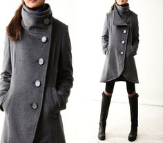 Missing you - crystal buttoned quilted cashmere coat (Y1225). $138.00, via Etsy.