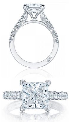 Princess Cut Diamond Engagement Ring (#HT254625PR8) from Tacori's New Petite Crescent Collection¸.•`♥¸.•`♥