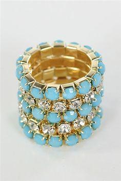 $12 Bead and Rhinestone Ring Set