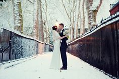 Gorgeous photo and couple! Love, snow and fur!   #wedding #winter #snow #inspiration