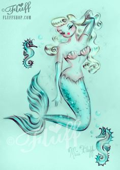 Pin Up Mermaid  Dreamy Blonde on Aqua by HouseOfFluff on Etsy, $30.00
