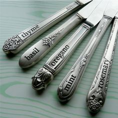 Herb Plant Stakes - Antique Silver Knives