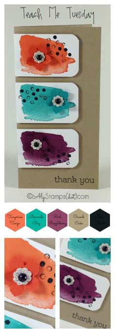 Happy Watercolor Stamp Set feature! Video tips to go with this card on the blog with 4 additional designs at the end all using this stamp set.
