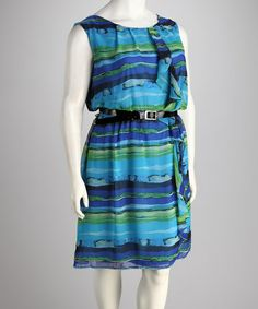 Take a look at this Blue Stripe Plus-Size Dress by Metro 22 on #zulily today!