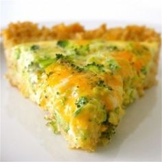Broccoli cheddar quiche made with a brown rice crust.  I am testing this concept this week for my Shrinking On a Budget Meal Plan.  I will tweak it quite a bit, but love the rice crust concept.