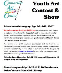 YOUTH ART CONTEST IN CAMARILLO FOR KIDS AGE 5-17  The Deadline to Enter is Thursday, July 11 and Friday July 12th