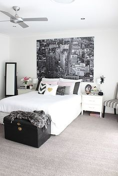 Monochrome, pink and gold bedroom interiors