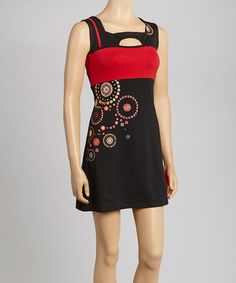 Take a look at this Black & Red Cutout Dress by Coline USA on #zulily today!