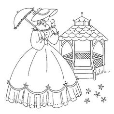Embroidery patterns on pinterest embroidery patterns for Southern belle coloring pages