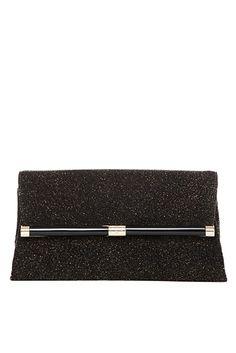 440 Envelope Diamond Dust Leather Clutch In Black/ Gold