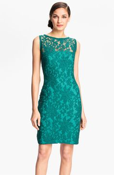 Tadashi Shoji Illusion Yoke Crochet Lace Sheath Dress available at #Nordstrom