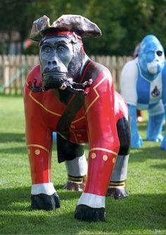 "Bristol, England - Wow Gorillas 2011 -""Blackbeardorilla"" - 61 life-size gorilla statues - ""Bristol Rovers Irene"" in background"