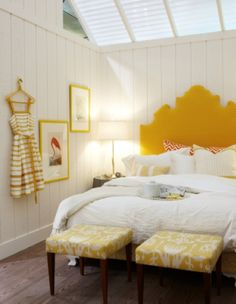Yellow and white bedroom.
