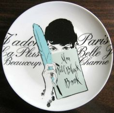 Decorative Dishes - Vintage Rosanna Feather Girl Black White French Script Plate, $19.99 (http://www.decorativedishes.net/vintage-rosanna-feather-girl-black-white-french-script-plate/) rosanna feather, feather girl, french script, plate