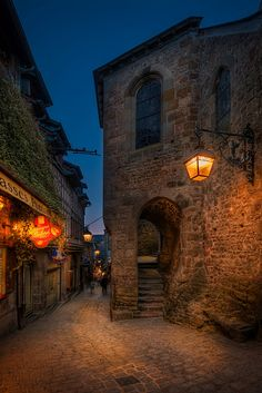 Street in Mont Saint-Michel, Normandy, France