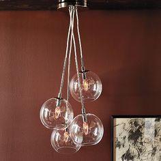 love the globe lights Cluster Glass Pendant #WestElm