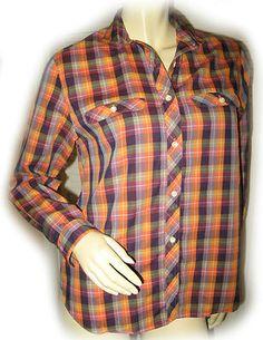 Chadwicks womens green chocolate brown long sleeve v neck for Ladies brown check shirt