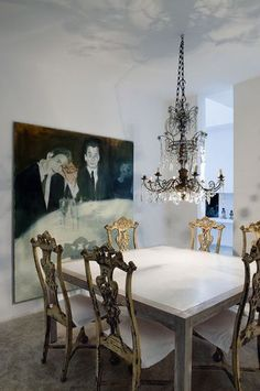 Chez Jean-Marie Massaud, love the Chippendale chairs mixed in here