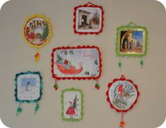 "Crochet Christmas Cards display - This would be an idea for a more ""annual collection"" of favorite christmas cards.  Don't crochet?  How about glueing some bric-a-brac or fancy trip around the edges?  You can even glue lace on the back of the cards and hang them... You could even leave the cards in tact so you can read the sentiments. http://thegreendragonfly.wordpress.com/2011/12/19/a-little-christmas-crochet-inspiration/#"
